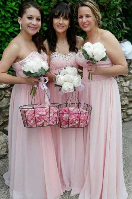 Pink Sweetheart Chiffon Sparkles Long Pleated Bridesmaid Dress - Bridesmaid Dresses