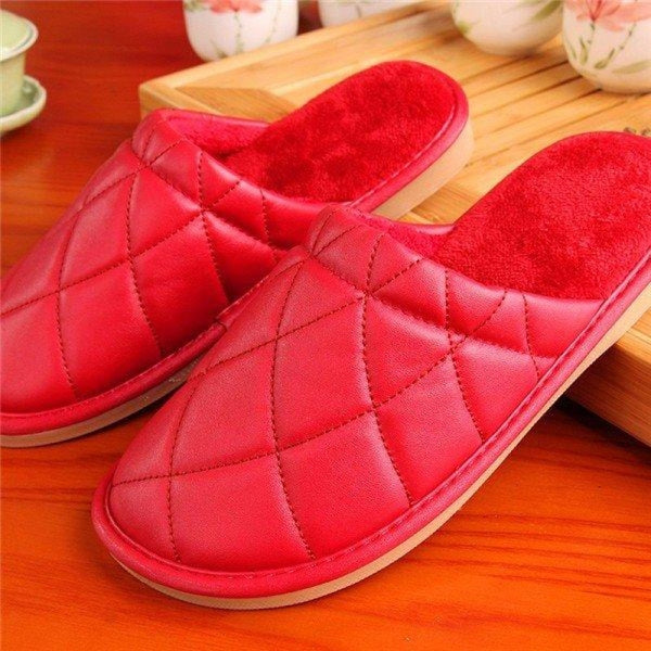 Plaid Pure Color Pu Slip On Home Slippers Indoor Shoes - Red / US 5 - home shoes