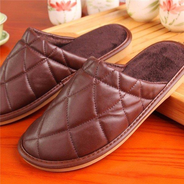 Plaid Pure Color Pu Slip On Home Slippers Indoor Shoes - Coffee / US 5 - home shoes