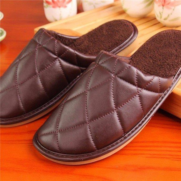 Plaid Pure Color Pu Slip On Home Slippers Indoor Shoes - Brown / US 5 - home shoes