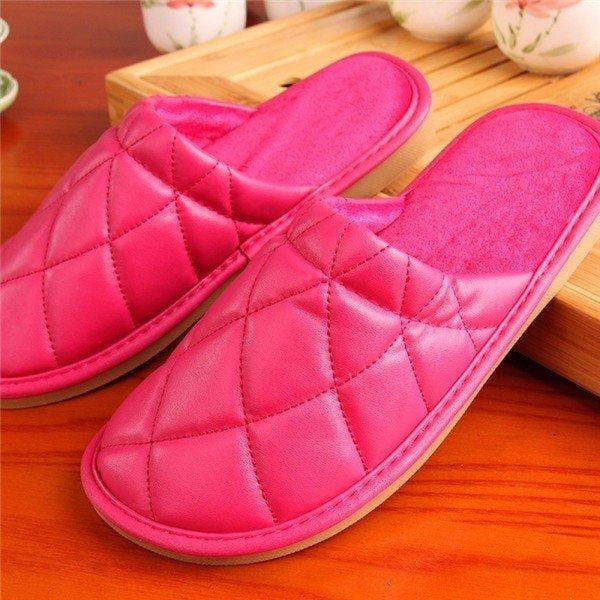 Plaid Pure Color Pu Slip On Home Slippers Indoor Shoes - Pink / US 5 - home shoes