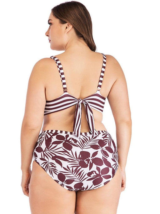 Plus Size Front Twisted Floral High Waist Printed Backless Sexy Bikinis Swimsuits For Women - Plus Size Bikinis