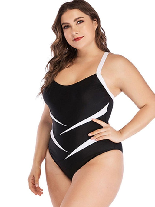 Plus Size Patchwork Slimming Backless Criss Cross One Piece Swimwear For Women - Plus Size One Piece
