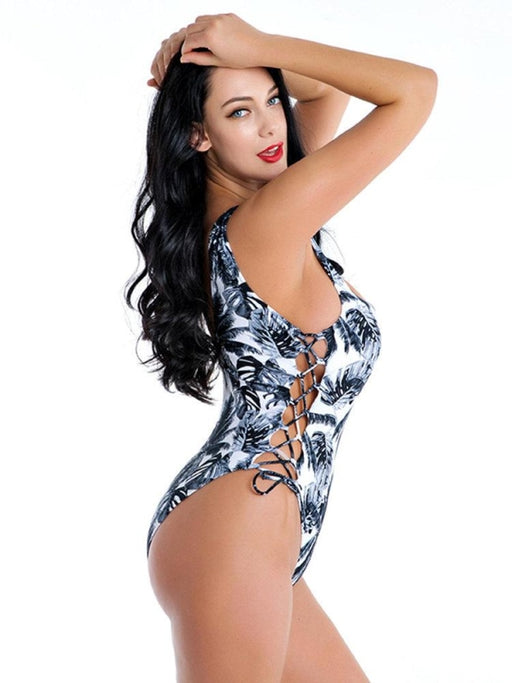 Plus Size Print Sexy One Piece Bandage Backless Bathing Suits Women Swimwear - Plus Size One Piece