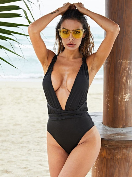 Plus Size Slimming One Piece Sexy Deep V Criss Cross Backless Women Swimsuits - Plus Size One Piece