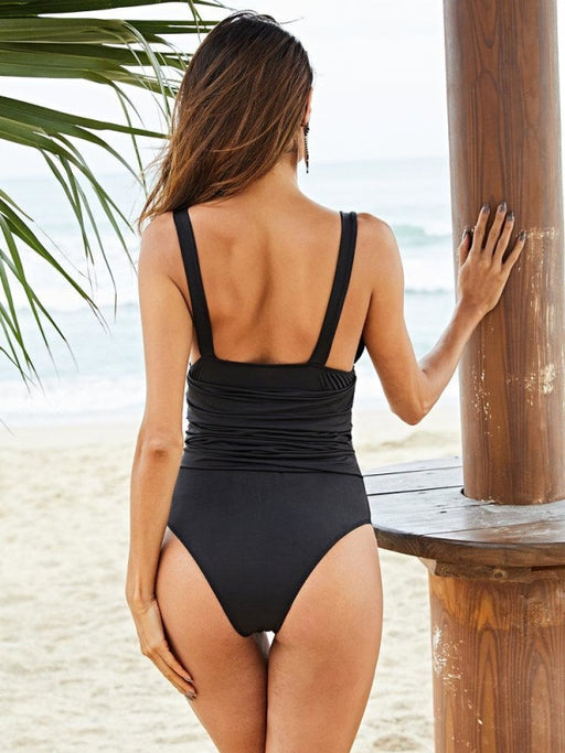 Plus Size Slimming Sexy One Piece Deep V Ruffled Cover Belly Women Swimwear - Plus Size One Piece