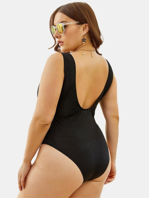 Plus Size Solid Metal Holes Trim Backless V-Neck One Piece Beachwear For Women - Plus Size One Piece