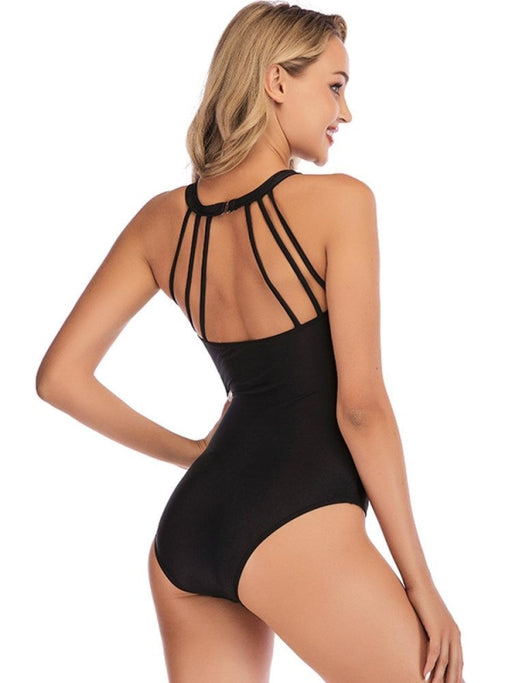 Plus Size Striped Mesh Patchwork Vintage Print Plunge One Piece Swimwear For Women - Plus Size One Piece