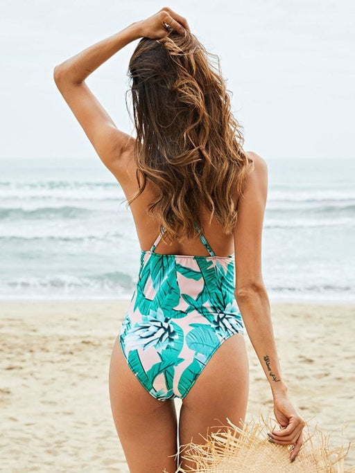 Plus Size Tropical One Piece Slimming String Floral Backless Sexy Women Swimwear - Plus Size One Piece