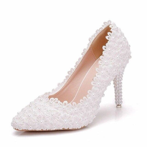 Pointed Toe Lace Flower Wedding Pumps | Bridelily - white / 34 - wedding pumps