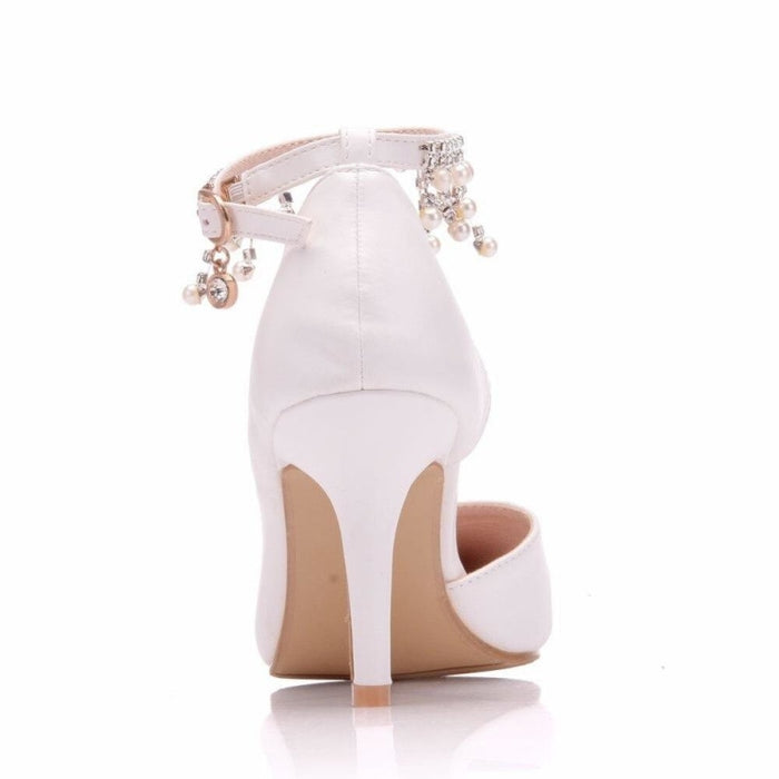 Pointed Toe Rhinestone Flowers Wedding Sandals | Bridelily - wedding sandals