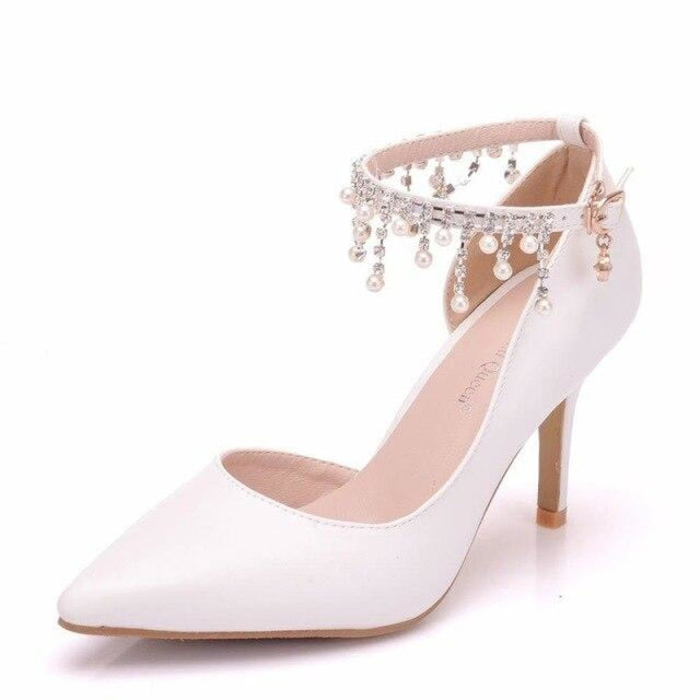 Pointed Toe Rhinestone Flowers Wedding Sandals | Bridelily - white / 34 - wedding sandals