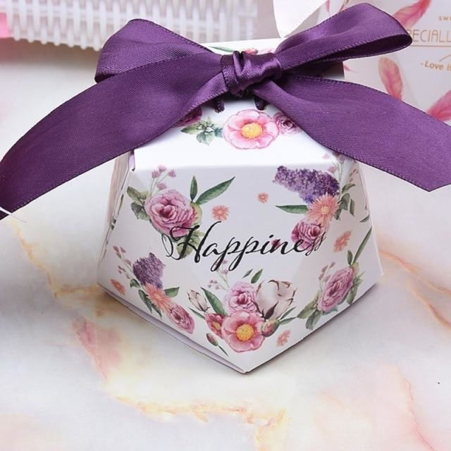 Polygon Sweet Bow With Ribbon Favor Holders | Bridelily - Purple-Purple Ribbon / 20 pcs - favor holders
