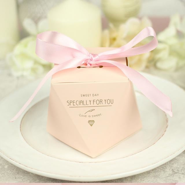 Polygon Sweet Bow With Ribbon Favor Holders | Bridelily - Pink-Pink Ribbon 1 / 20 pcs - favor holders