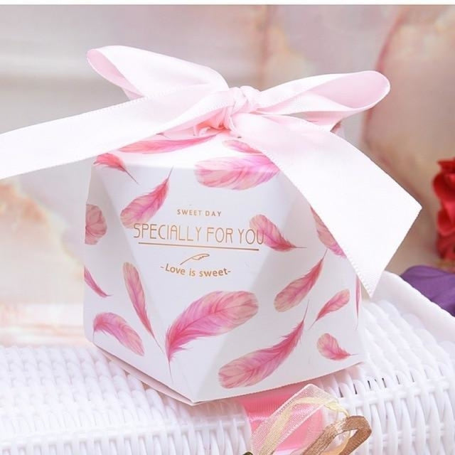 Polygon Sweet Bow With Ribbon Favor Holders | Bridelily - Pink-Pink Ribbon / 20 pcs - favor holders