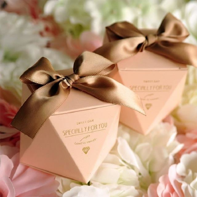 Polygon Sweet Bow With Ribbon Favor Holders | Bridelily - Pink-Coffee Ribbon / 20 pcs - favor holders