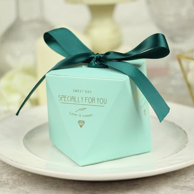 Polygon Sweet Bow With Ribbon Favor Holders | Bridelily - Bule-Green Ribbon / 20 pcs - favor holders