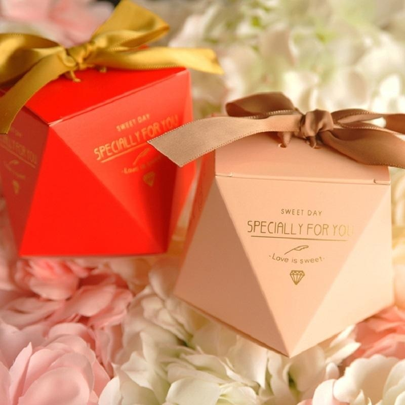 Polygon Sweet Bow With Ribbon Favor Holders | Bridelily - favor holders