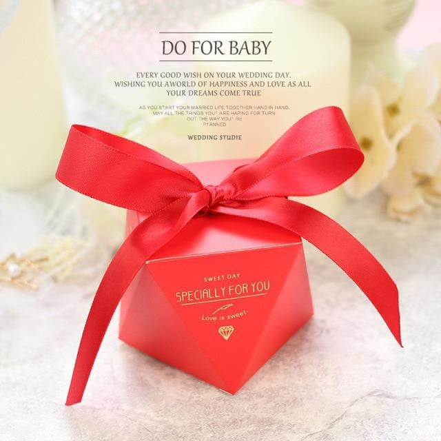Polygon Sweet Bow With Ribbon Favor Holders | Bridelily - Red-Red Ribbon / 20 pcs - favor holders