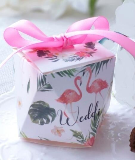 Polygon Sweet Bow With Ribbon Favor Holders | Bridelily - Green-Pink Ribbon / 20 pcs - favor holders