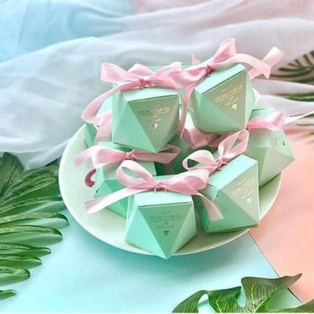 Polygon Sweet Bow With Ribbon Favor Holders | Bridelily - Bule-Pink Ribbon / 20 pcs - favor holders