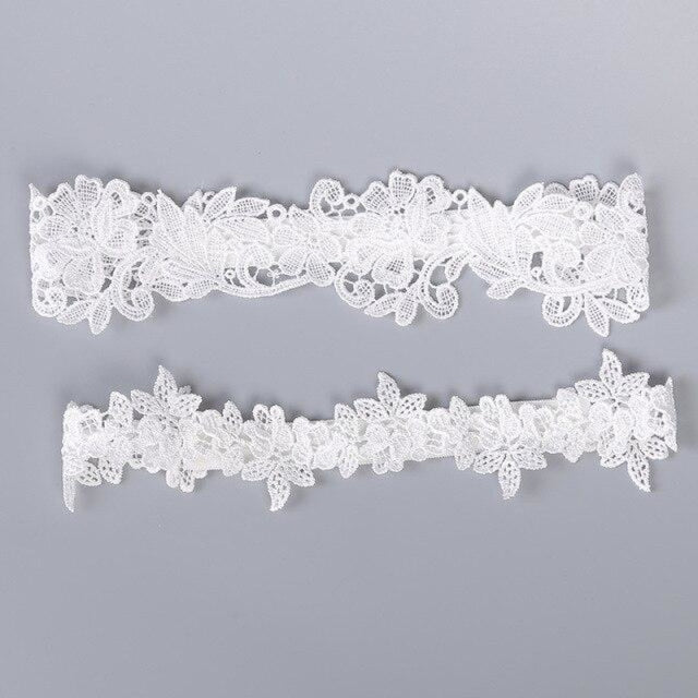 Popular 2pcs Lace Handmade Wedding Garters | Bridelily - white - garters