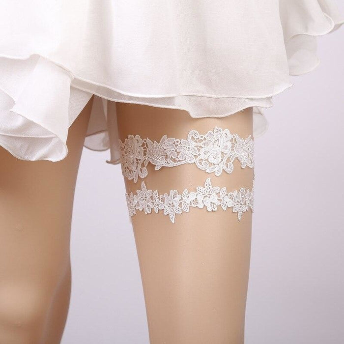 Popular 2pcs Lace Handmade Wedding Garters | Bridelily - garters