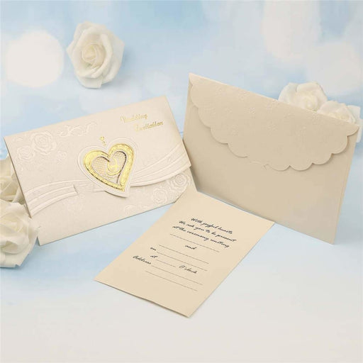 Popular Hollow Heart Style Tri-Fold Invitation Cards (Set of 50) | Bridelily - invitation cards