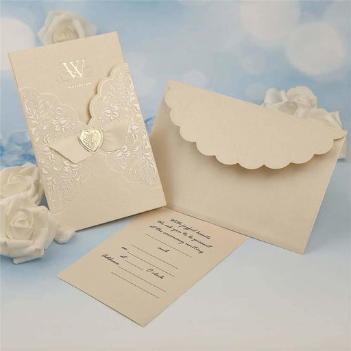 Popular Imprint Heart Style Tri-Fold Invitation Cards (Set of 50) | Bridelily - invitation cards