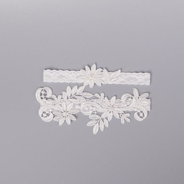 Popular Lace Embroidery Flower Wedding Garters | Bridelily - color - garters