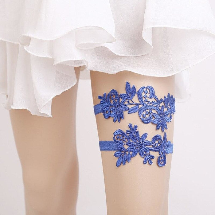 Popular Lace Embroidery Flower Wedding Garters | Bridelily - garters