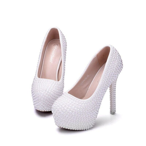 Popular Pearl White High Heel Wedding Pumps | Bridelily - wedding pumps