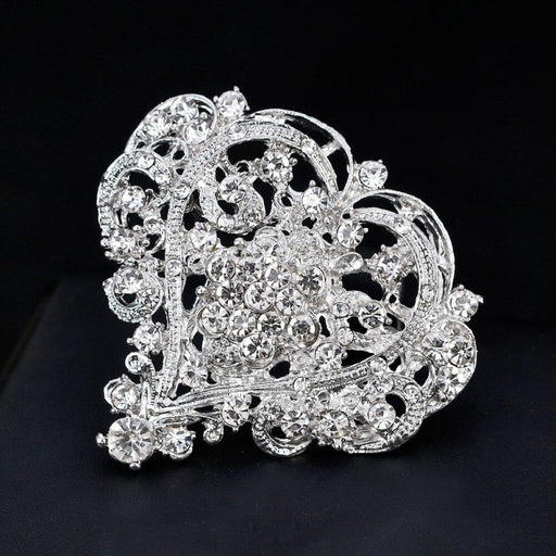Popular Silver Crystal Heart Shape Wedding Brooches | Bridelily - brooches
