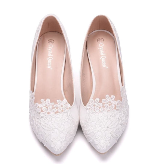 Popular White Handmade lace Wedding Pumps | Bridelily - wedding pumps