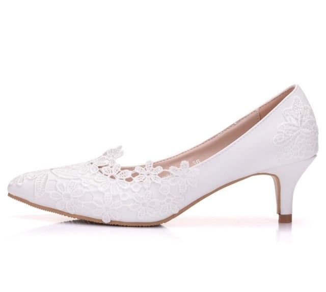 Popular White Handmade lace Wedding Pumps | Bridelily - WHITE / 34 - wedding pumps