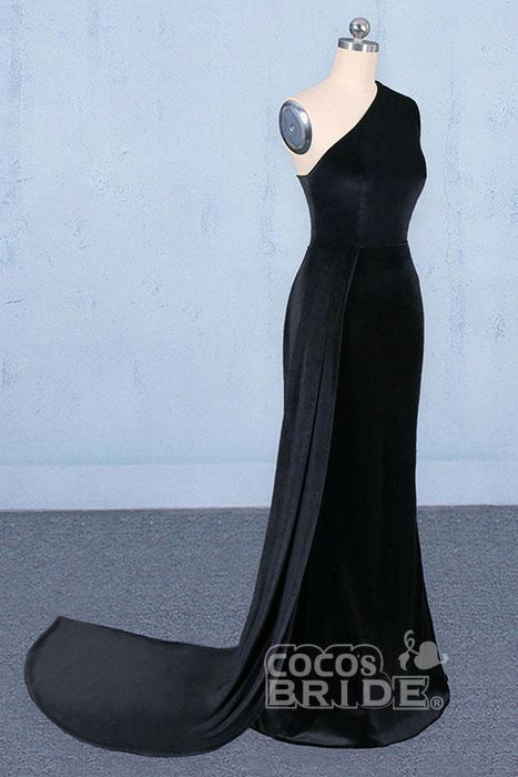 Precious Exquisite One Shoulder Mermaid Long Evening Dress Unique Black Prom Dresses - Prom Dresses