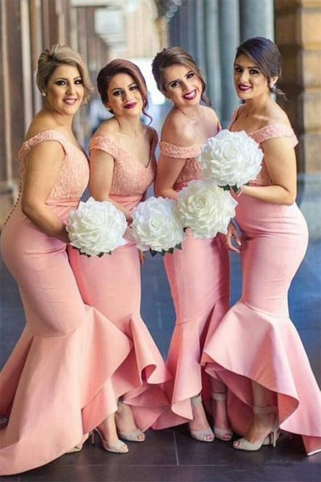 Pretty Mermad Long Satin Off The Shoulder Bridesmaid Dresses For Wedding - Bridesmaid Dresses
