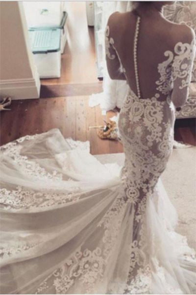 Pretty Mermaid Lace Appliques Long Sleeves Sheer Tulle Wedding Dress - Wedding Dresses