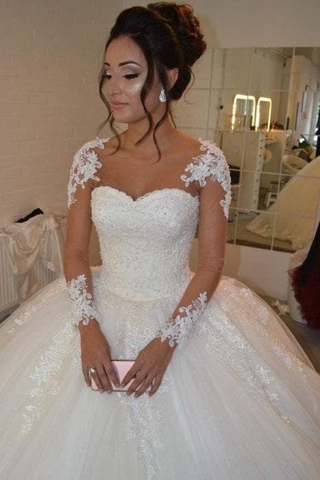 Pretty Sheer Long Sleeves Ivory Lace Appliques Wedding Dress - Wedding Dresses