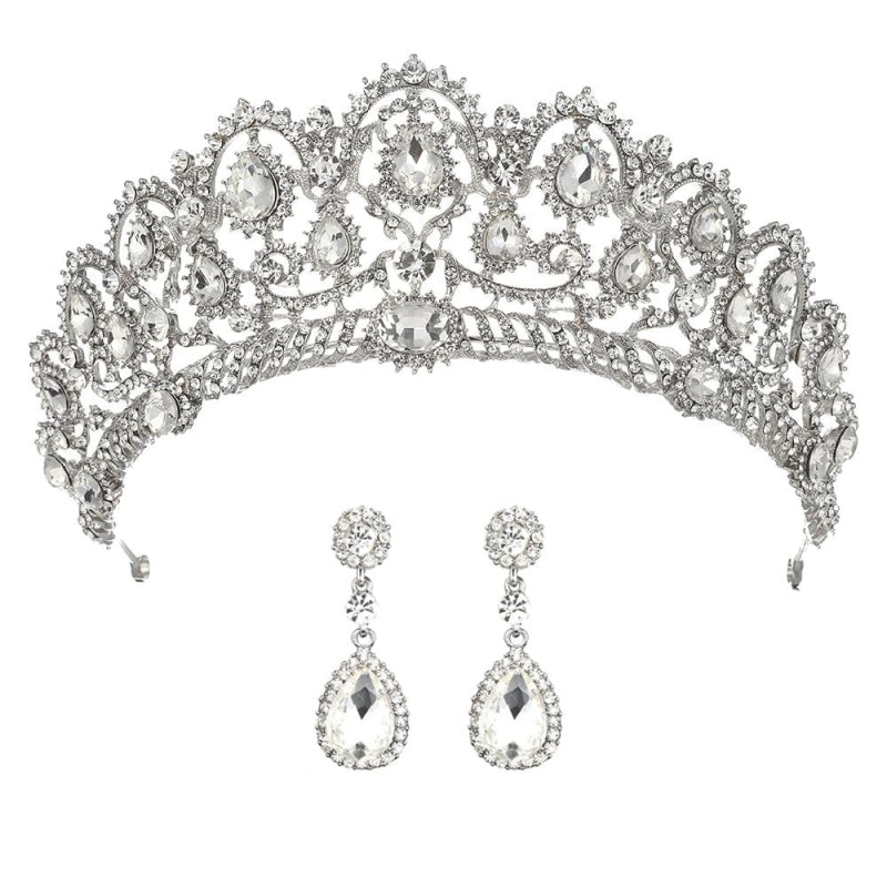 Princess Crown Crystal Womens Tiaras | Bridelily - Silver - tiaras
