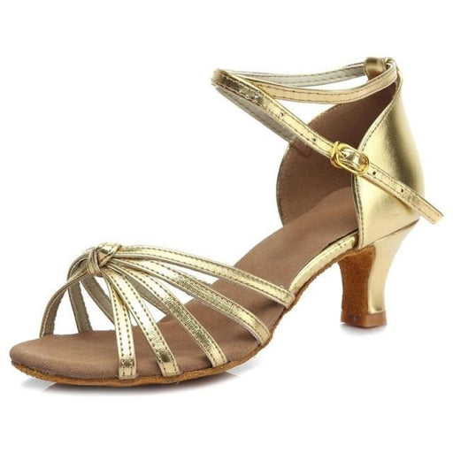 PU Soft Sole Square heel Ballroom Dance Shoes | Bridelily - A Gold knots 5CM / 3.5 - ballroom dance shoes
