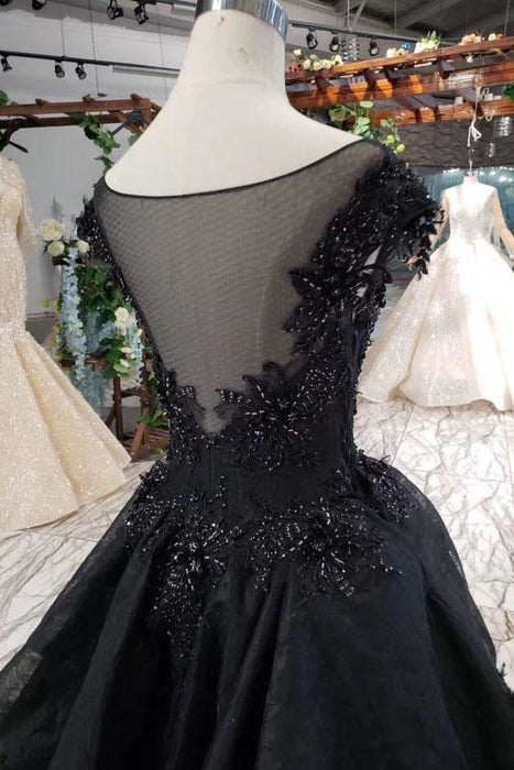 Puffy Cap Sleeves Black Long Prom with Appliques Charming Beading Formal Dress - Prom Dresses