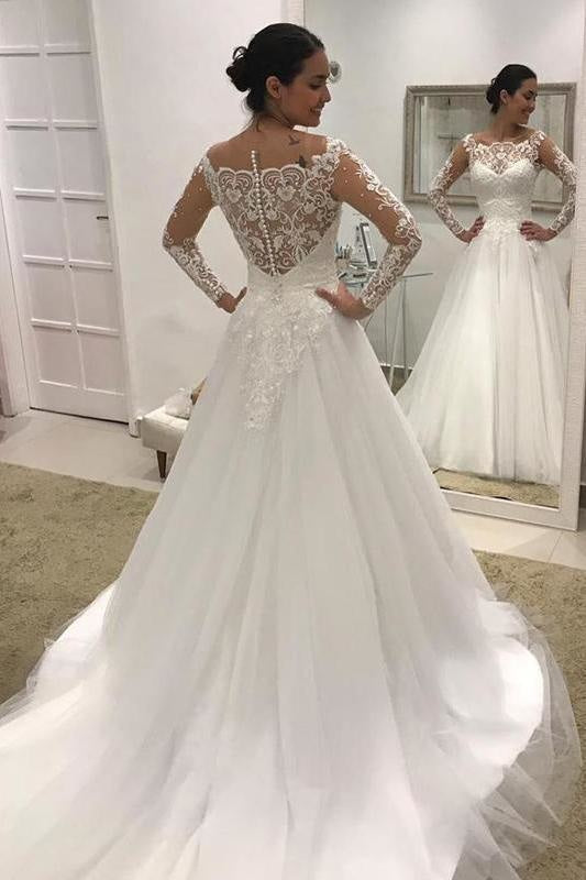 Puffy Long Sleeves Gorgeous Tulle Beads Wedding Dress - Wedding Dresses