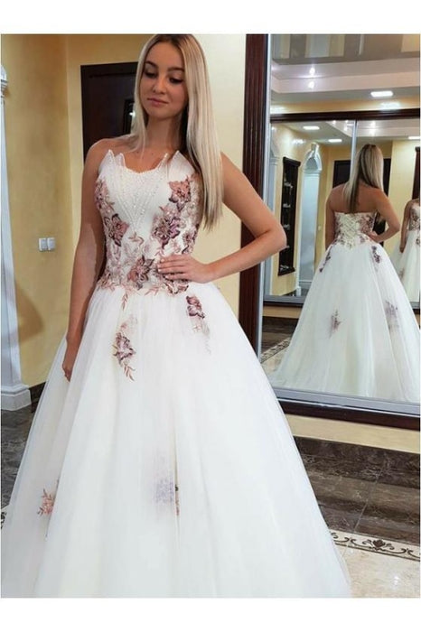 Puffy Strapless Tulle Prom Dress with Appliques Floor Length A Line Party Dresses - Prom Dresses