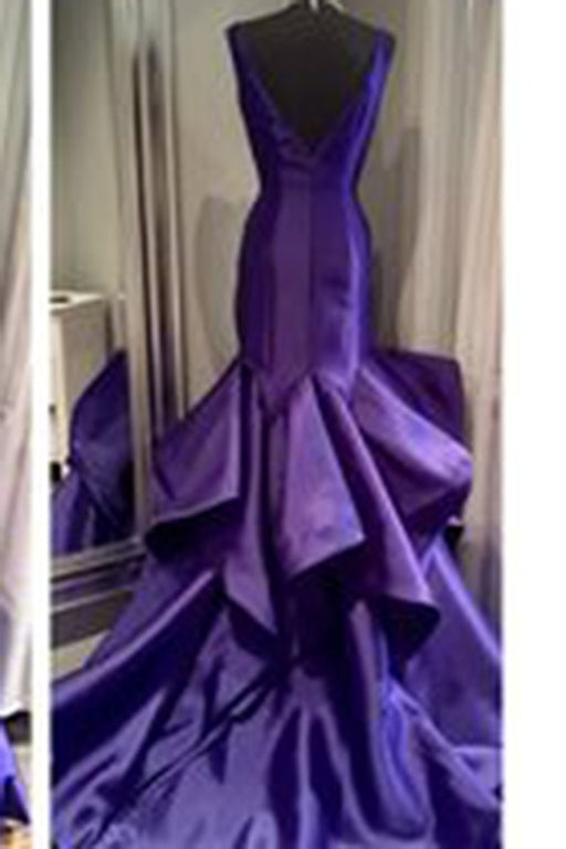 Purple Satins V Neck Mermaid Long Prom Dress - Prom Dresses