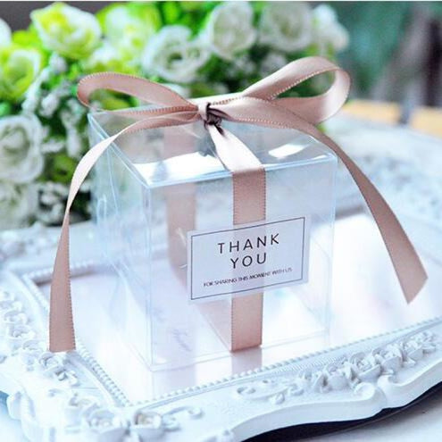 PVC Clear Ribbon Candy Boxes Wedding Favor Holders | Bridelily - Brown / 50pcs - favor holders