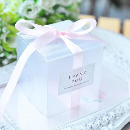 PVC Clear Ribbon Candy Boxes Wedding Favor Holders | Bridelily - Pink / 50pcs - favor holders