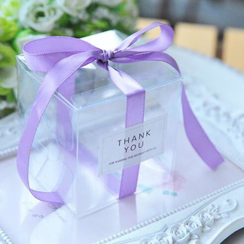 PVC Clear Ribbon Candy Boxes Wedding Favor Holders | Bridelily - Purple / 50pcs - favor holders