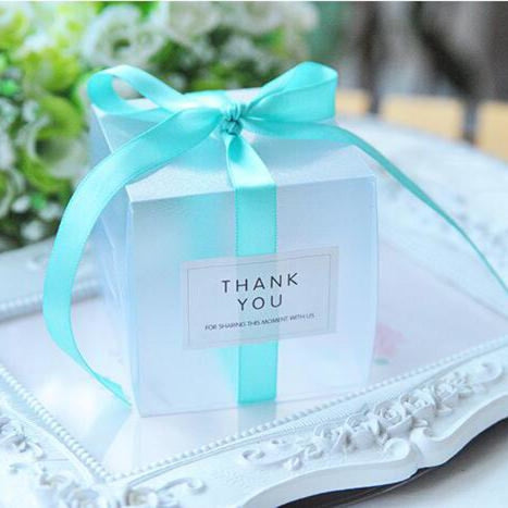 PVC Clear Ribbon Candy Boxes Wedding Favor Holders | Bridelily - Sky blue / 50pcs - favor holders