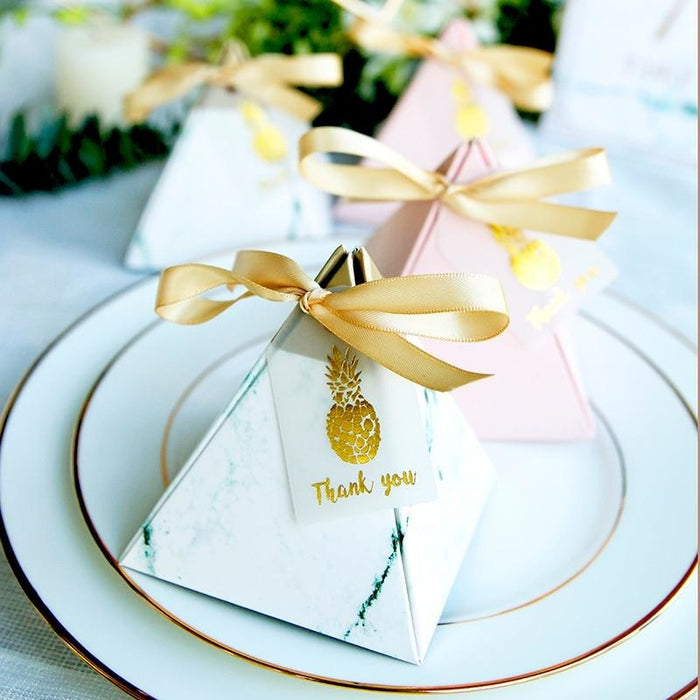 Pyramid Carton 100Pcs With Ribbon Favor Holders | Bridelily - favor holders